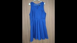 Royal Blue Sleeveless V Line Dress